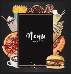 Fast food cafe menu set hand vector