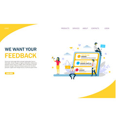feedback website landing page design vector image