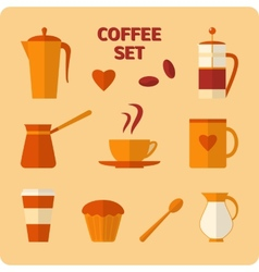 Flat coffee icons set vector