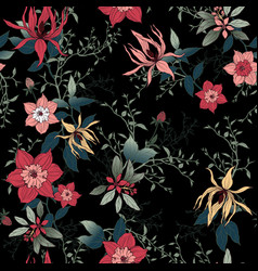 floral pattern on a black background vector image