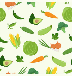 fresh green various vegetables seamless pattern in vector image