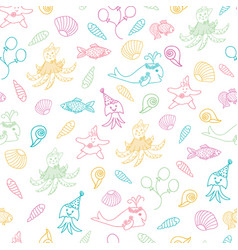 funny sea animals and fish nautical pattern vector image