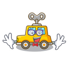 Geek cartoon clockwork toy car in table vector