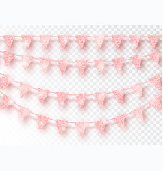 glitter pink party flags decoration set isolated vector image