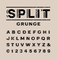 Grunge font alphabet with split effect letters and vector image
