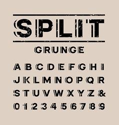 Grunge font alphabet with split effect letters vector