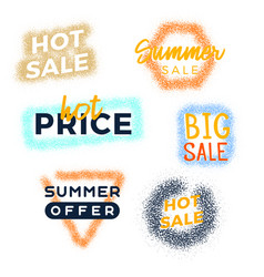 grunge summer sale premium quality labels bundle vector image