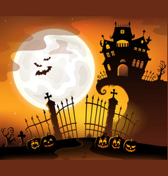 halloween house silhouette theme 5 vector image
