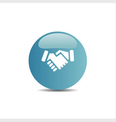 Handshake icon on a blue button vector