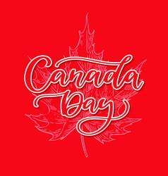 Happy canada day card handwritten vector