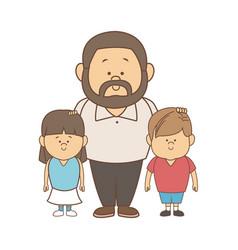 Happy dad his son and daughter vector