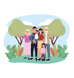 Happy man and woman with their kids and parents vector