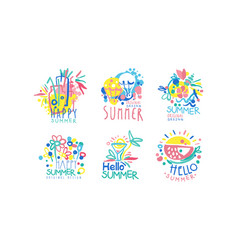 Happy summer original design labels collection vector