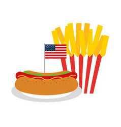 Hot dog french fries flag american food vector