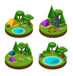 Isometry is a set of mini camping concepts vector