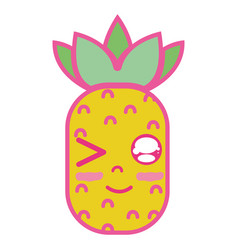 Kawaii cute funny pineapple fruit vector