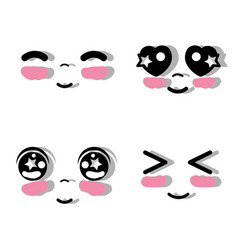Kawaii faces with tender expression vector