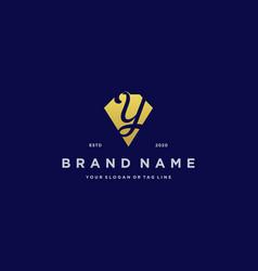 Letter y diamond gold logo design vector