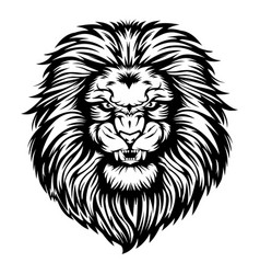 Lion head angry black white vector