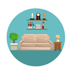 living room sofa shelf books trophy clock lamp vector image
