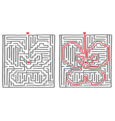 Maze labyrinth game butterfly vector