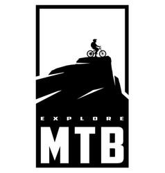 Mtb explore mountain bike banner t-shirt print vector