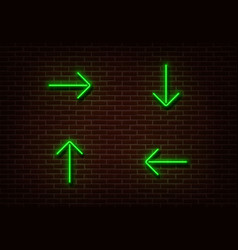 neon green arrows isolated on brick wall light di vector image