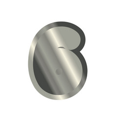Number 6 steel metal font six silver alphabet vector