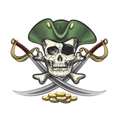 pirate skull in sailor hat with sabres and coins vector image
