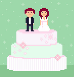 pixel art wedding couple characters vector image
