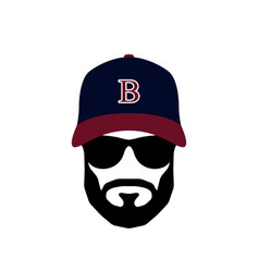 portrait of ballplayer man wearing glasses vector image