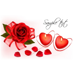 red roses and two heart candles vector image