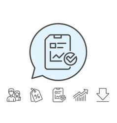Report document line icon checklist vector