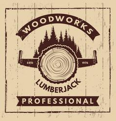 Retro poster with monochrome symbols of sawmill vector