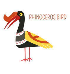 Rhinoceros bird cartoon of south east asia vector