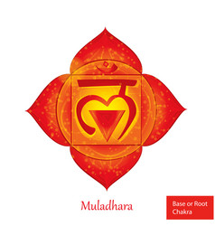 Root of base chakra muladhara glowing chakra icon vector