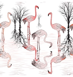 Seamless pattern with of pink flamingo vector