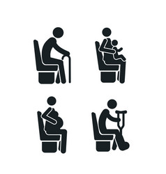 set detailed black icons priority seats vector image