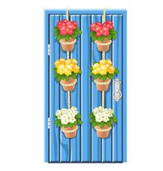 Set flower pots hanging on rope on blue vector