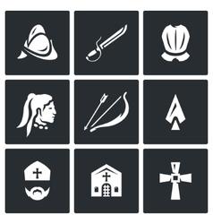 Set of spanish conquistador icons helmet vector