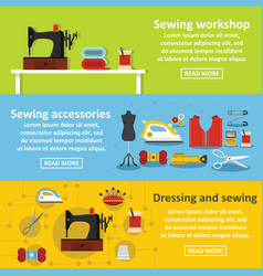 sewing tools banner horizontal set flat style vector image