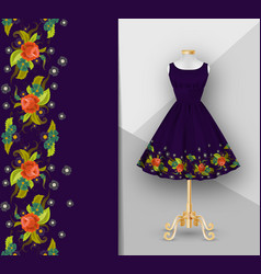 Short embroidery fabric printed dress with folds vector
