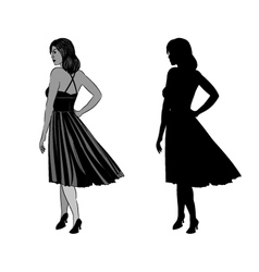Silhouette of a girl with ball gown vector