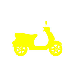 Silhouette of scooter in yellow design vector