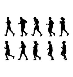 Silhouette people running on white background vector