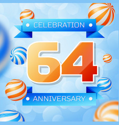 Sixty four years anniversary celebration design vector