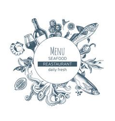 sketch card menu seafood vector image