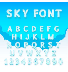 sky font on a heavenly background vector image