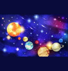 solar system with stars and comets with tails vector image