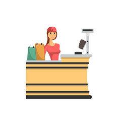 supermarket checkout counter with cashier icon vector image